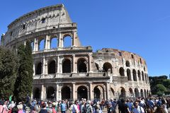 Crowds of tourists at Colosseum in Rome