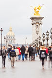 Crowds of tourists in Paris Stock Photography