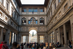 Crowds of tourists at the Ufuzzi Gallery, Florence Royalty Free Stock Photo