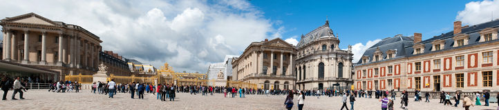 Crowds of tourists visit the Palace of Versailles Stock Image