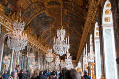 Crowds of tourists visit the Palace of Versailles Stock Photography
