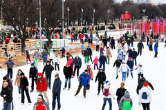 Crowds of townsfolk skating rink in Gorky Park Royalty Free Stock Photo