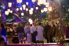 Crowds under lanterns at Brisbane Festival Royalty Free Stock Images