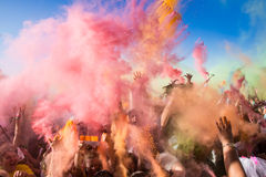 Crowds of unidentified people at The Color Party Stock Image