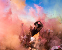 Crowds of unidentified people at The Color Party Stock Images