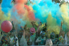 Crowds of unidentified people at The Color Run. FIRENZE, ITALYA - JUNE 04: Crowds of unidentified people at The Color Run on June 04, 2016 in Firenze, Italy. The Royalty Free Stock Images