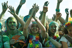 Crowds of unidentified people at The Color Run. FIRENZE, ITALYA - JUNE 04: Crowds of unidentified people at The Color Run on June 04, 2016 in Firenze, Italy. The Royalty Free Stock Image