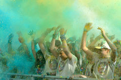 Crowds of unidentified people at The Color Run. FIRENZE, ITALYA - JUNE 04: Crowds of unidentified people at The Color Run on June 04, 2016 in Firenze, Italy. The Stock Image