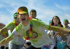 Crowds of unidentified people at The Color Run. FIRENZE, ITALYA - JUNE 04: Crowds of unidentified people at The Color Run Tropicolor on June 204, 2016 in Firenze Royalty Free Stock Image