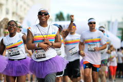Crowds of unidentified people at The Color Run Royalty Free Stock Images