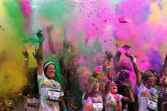 Crowds of unidentified people at The Color Run Royalty Free Stock Photography