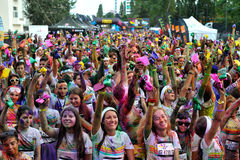 Crowds of unidentified people at The Color Run Royalty Free Stock Photos