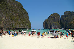 Crowds of visitors enjoy a day trip at Maya Bay Royalty Free Stock Images