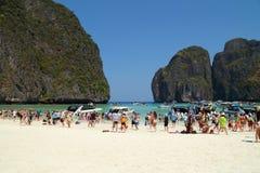 Crowds of visitors enjoy a day trip at Maya Bay Royalty Free Stock Photography