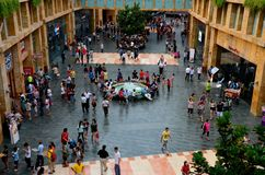 Crowds of visitors at the Forum area in Sentosa, Singapore Stock Photo