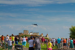 Crowds watch the Avro Vulcan bomber used by the British RAF Royalty Free Stock Image