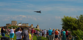 Crowds watch the Avro Vulcan bomber used by the British RAF Royalty Free Stock Photos