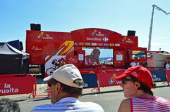 Crowds Watching Big Screen At Bike Race Royalty Free Stock Images