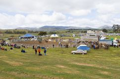 Crowds watching rural Rodeo. Melton Mowbray, Tasmania-November 1, 2003. Crowds watching the annual Melton Mowbray rodeo, set up in a paddock, Tasmania, Australia Stock Photo