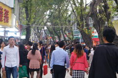 The crowds in Xixiang, Shenzhen Commercial Street Stock Photos