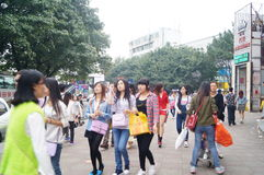 The crowds in Xixiang, Shenzhen Commercial Street Royalty Free Stock Photography