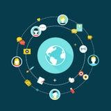 Εικονίδια επικοινωνίας γήινων σφαιρών και δικτύων Crowdsourcing, κοινωνικές δίκτυο και έννοια μέσων Στοκ Φωτογραφίες