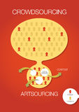Crowdsourcing, artsourcing infographic. Vector illustration explaining idea of crowdsourcing and artsourcing Stock Photos