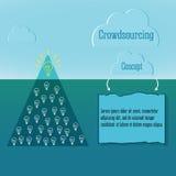 Crowdsourcing begrepp Enkel infographics Och snövintermoln Abstrakt triangelisberg med talrika idéer stock illustrationer