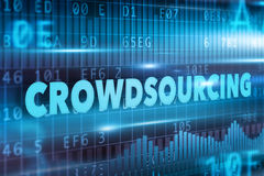 Crowdsourcing concept. With blue text blue background Stock Images