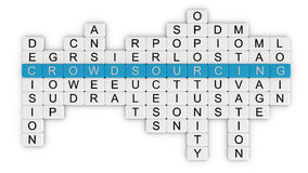 Crowdsourcing crossword_top view. Crowdsourcing related words. Part of a series of business concepts Royalty Free Stock Photo