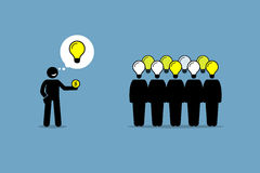 Crowdsourcing or crowd sourcing. Vector artwork depicts outsourcing and paying money to a large group of people to obtain their services and ideas Royalty Free Stock Photo