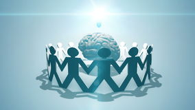 Crowdsourcing and crowdfundng - paper chain of people surrounding lightbulb and brain concept. Paper people around a brain and lightbulb concept symbolising stock illustration