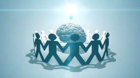 Crowdsourcing e crowdfundng - catena di carta del concetto circostante della lampadina e del cervello della gente