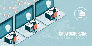 Crowdsourcing e telelavoro illustrazione vettoriale