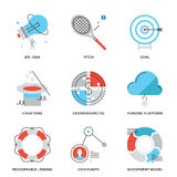 Crowdsourcing and funding line icons set Royalty Free Stock Images