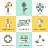 Crowdsourcing and funding money flat icons. Flat line icons set of crowd funding service, investing platform for creative project, development of small business Royalty Free Stock Photos