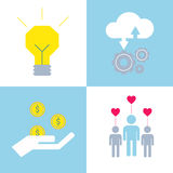 Crowdsourcing icons made in modern flat style. Royalty Free Stock Photos