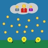 Crowdsourcing illustration on blue background. Crowdfunding illustration Royalty Free Stock Image
