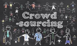 Crowdsourcing illustrerade på svart tavla Fotografering för Bildbyråer