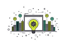 Crowdsourcing innovation line style illustration Stock Photo