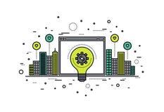 Crowdsourcing innovationlinje stilillustration Arkivfoto