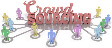 Crowdsourcing people contributors social word. Crowdsource people contribute user generated content to business startup vector illustration