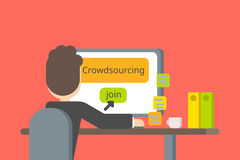 Crowdsourcing or searching for ideas and people. Vector flat design. Stock Images