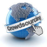 Crowdsourcing symbol with globe and cursor, 3d Stock Images