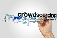 Crowdsourcing word cloud concept on grey background.  Royalty Free Stock Photography