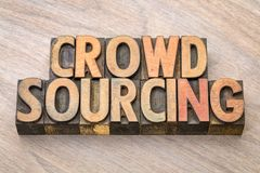 Crowdsourcing word in wood type. Crowdsourcing word abstract in letterpress wood type Royalty Free Stock Photos