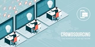 Crowdsourcing y teletrabajo ilustración del vector