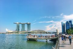Crowed at Merlion stock photography
