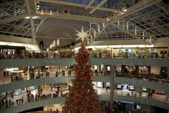 Crowed shopping mall Galleria holiday Royalty Free Stock Image