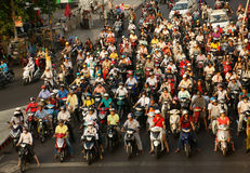Crowed urban traffic in rush hour Vietnam Royalty Free Stock Photos